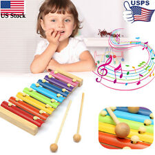 8 Notes Musical Xylophone Piano Wooden Instrument For Educational Child Toy US