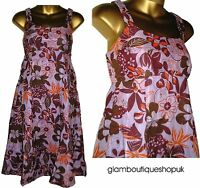 GORGEOUS MONSOON LILAC BROWN FLORAL COTTON SUMMER SUN DRESS SIZE 8 £9.99!