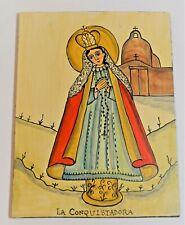 Marie Romero Cash retablo The Virgin La Conquistadora 8 1/4 by 11 acrylic wood