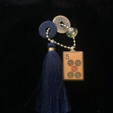 Vtg Key Chain Mahjong MahJongg Enrobed Five Dot Tile Sterling Silver Bead