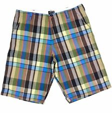 Stussy Men's Brown Green Blue Plaid Flat Front Chino Shorts Size 38
