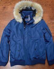 NWT Tommy Hilfiger Men's Faux Fur Hoodie Navy Blue Parka Coat Jacket XL