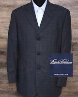 Brooks Brothers Men's Blue Plaid Wool Three Button Sport Coat Blazer Jacket 40R