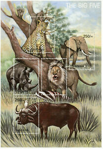 Tanzania Wild Animals Stamps 2002 MNH Big Five Elephants Lions Leopards 5v M/S