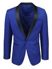 Men's Jacket Sartorial Blue Light Neck Satin Slim Fit Blazer Elegant