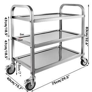 3 Tier Stainless Steel Utility Cart with Locking Wheels Shelf Kitchen Cart