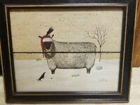 Dotty Chase Christmas Folk Art Winter Sheep Picture Framed