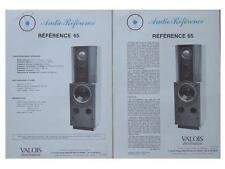 "BROCHURE ENCEINTES AUDIO REFERENCE ""REFERENCE 65"" 1985"