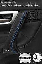 BLUE STITCH 2X FRONT DOOR HANDLE TRIM LEATHER COVER FITS VOLVO V70 S60 01-07