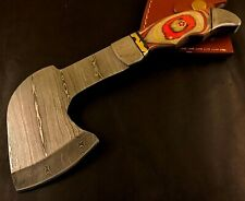 Handmade Damascus Steel Viking Axe-Camping-Outdoors-Leather Sheath-MD79