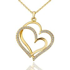 Elegant 18k 18CT Yellow Gold Filled GF Double Heart Pendant Chain Necklace N478
