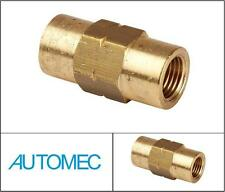 AUTOMEC Brake Pipe Brass Union Fitting 2 Way Connector Female 10mm for 3/16 Pipe