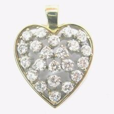 Fine Round Cut Diamond Cluster Yellow Gold Heart Pendant 27mm 2.23Ct
