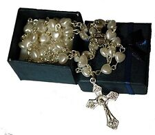 Beautiful White Heart Rosary Beads In Navy Blue Gift Box - First Xmas Baptism