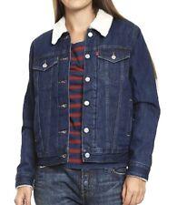 LEVIS Faux Shearling Lined Trucker Denim Jean Jacket Coat NEW Womens Size S M