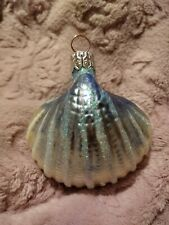 Blue Scallop #9750 Patricia Breen A Walk on the Beach Glass Christmas Ornament