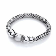 J JAZ 925 Sterling Silver Mesh Bracelet Rhodium Plated Polished Beads MARILYN