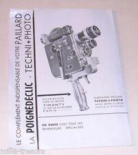 Ancienne documentation publicité POIGNEDECLIC pour Caméra PAILLARD