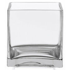 "Clear Square Glass Vase Cube - 6 Inch - 6"" x 6"" x 6"" Centerpiece - Candle Holder"