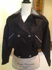 BEGEDOR ITALIA Rare Vtg Linen Summer Motorcycle Jacket Coat Black White 4 Italy