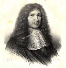 Grand Portrait de Jean Baptiste Colbert - Lithographie Originale XIXe
