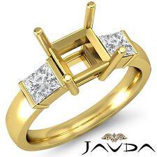 Diamond 3Stone Engagement Classic Ring 18k Yellow Gold Princess Semi Mount 0.6Ct