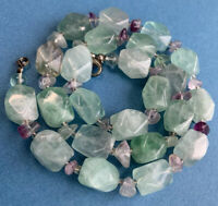 Chunky Hand Carved Quality Cuboid Fluorite Stone Healing Necklace 91g