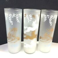 Libbey 3 Glass Vtg Tom Collins Psyche Nymph White Rock Fairy + Cavalcade Horses