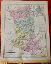 Old Map 1900 France Département Deux-Sèvres Niort Parthenay Vançais Bressuire