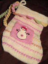 Baby Girl Christmas Stocking Pastel  Hand Knit Snowman Pink Super Cute