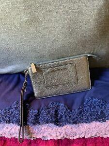 Michael Kors Silver Crossgrain Leather Credit Card Zip Wallet Clutch Wristlet
