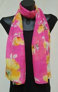 30% Silk Ladies Fashion Scarf, Pink & Yellow large flowers, sheer soft fabric