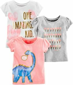 Simple Joys by Carter's Toddler Girls' 3-Pack Short-Sleeve Graphic Tees, 2T