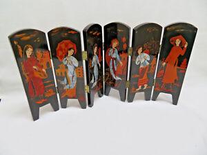Asian Black Lacquer Table Top Desk Divider Panels