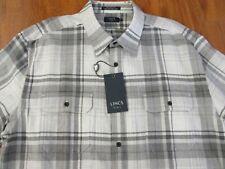 LINCS Gray & White  Plaid Flannel Shirt sz XL NEW with Tag $85.00