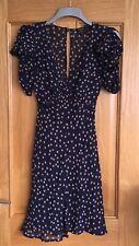 Kate Moss Top shop 1940s Style Navy Blue/beige Clovers Tea Dress
