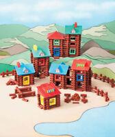 Kid's 400 Pc  Wood Log Building Set Build Cabins Forts Village Creative Play Fun