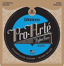 D'Addario EJ50 Pro Arte Black Nylon Classical Guitar Strings hard tension