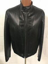 Men's Armani Collezioni Black Leather Jacket 52, Look Photos For Measure Please