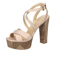 scarpe donna OLGA RUBINI 38 EU sandali beige pelle BS125-38