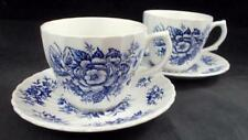 British Anchor BEACON HILL BLUE 2 Cup & Saucer Sets GOOD CONDITION