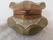 Antique Nakara Jewelry box BISHOPS hat Shape flowers Cf MONROE Glass CO c 1890