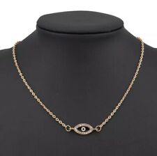 Crystal Evil Eye Nazar Dark Blue Gold chain Choker Necklace Gift UK