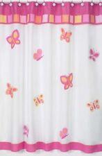 PINK ORANGE BUTTERFLY GIRL WHITE BATH FABRIC SHOWER CURTAIN SWEET JOJO DESIGNS