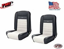 Full Set Deluxe PONY Seat Upholstery Mustang Fastback, Front/Rear, Black & White