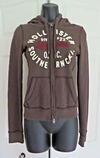 Hollister Chocolate Brown Hooded Sweatshirt Jacket Spell Out Size XS