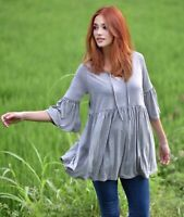 Boho Blouse Shirt Top - 3/4 Bell Sleeves Lacing Empire Waist Stretch Jersey Y157