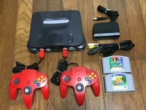 Nintendo 64 Console Black 2 controller Adapter Cable Game Set N64 Red