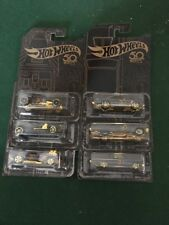 Hot Weels 50th Anniversary Black and Gold Set of Six