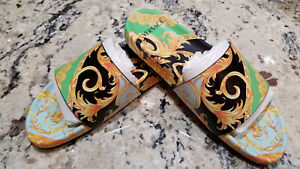 $595 Authentic Versace Green Home of Barocco Flip-Flops Slides. US10